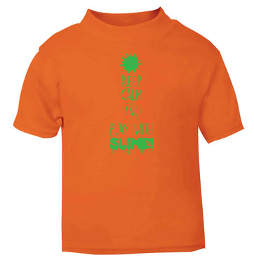 Neon green keep calm and play with slime!orange baby toddler Tshirt 2 Years