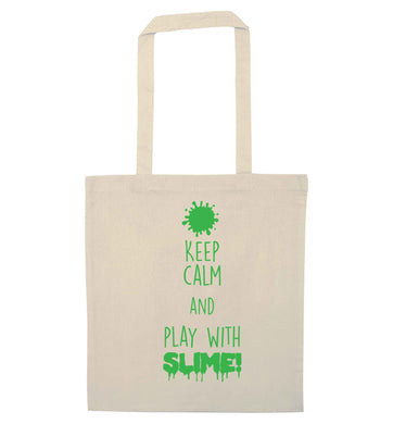 Neon green keep calm and play with slime!natural tote bag