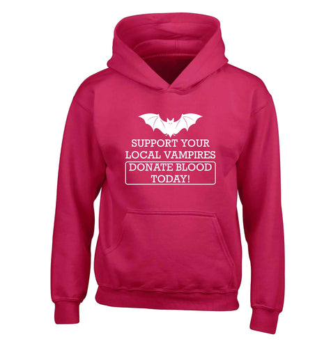 Support your local vampires donate blood today! children's pink hoodie 12-13 Years
