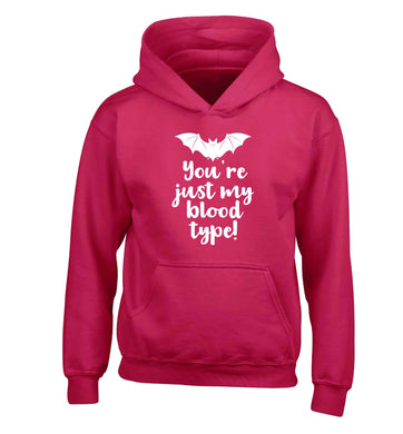 You're just my blood type children's pink hoodie 12-13 Years