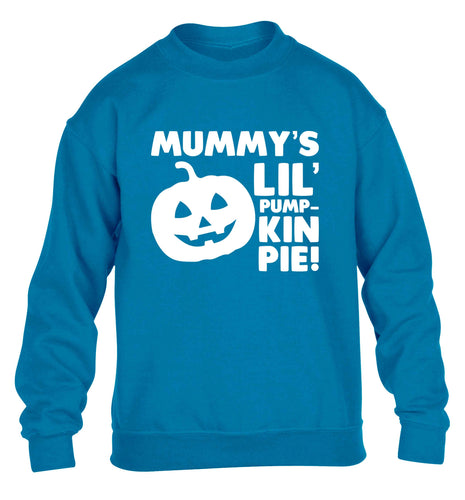 Mummy's lil' pumpkin pie children's blue sweater 12-13 Years