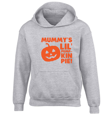 Mummy's lil' pumpkin pie children's grey hoodie 12-13 Years