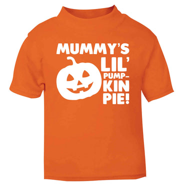 Mummy's lil' pumpkin pie orange baby toddler Tshirt 2 Years