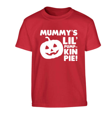 Mummy's lil' pumpkin pie Children's red Tshirt 12-13 Years