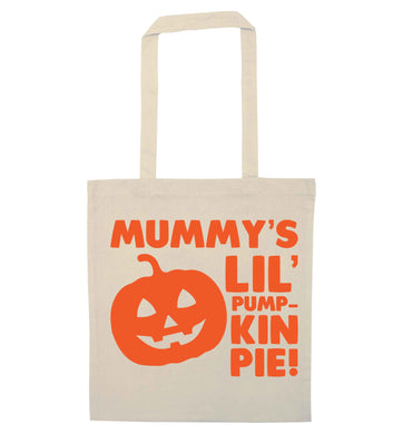 Mummy's lil' pumpkin pie natural tote bag