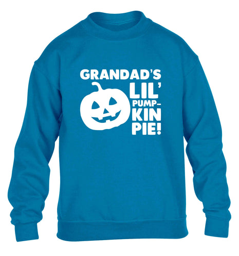 Grandad's lil' pumpkin pie children's blue sweater 12-13 Years
