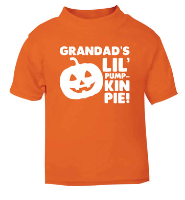 Grandad's lil' pumpkin pie orange baby toddler Tshirt 2 Years