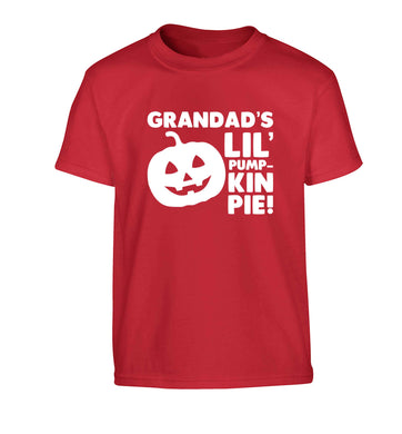 Grandad's lil' pumpkin pie Children's red Tshirt 12-13 Years