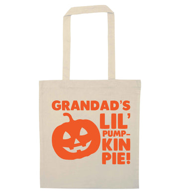 Daddy's lil' pumpkin pie natural tote bag