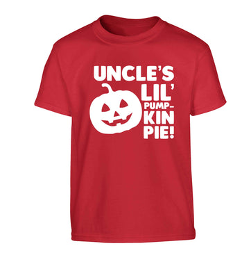 Uncle's lil' pumpkin pie Children's red Tshirt 12-13 Years