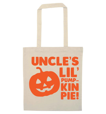 Uncle's lil' pumpkin pie natural tote bag