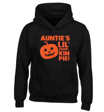 Auntie's lil' pumpkin pie children's black hoodie 12-13 Years
