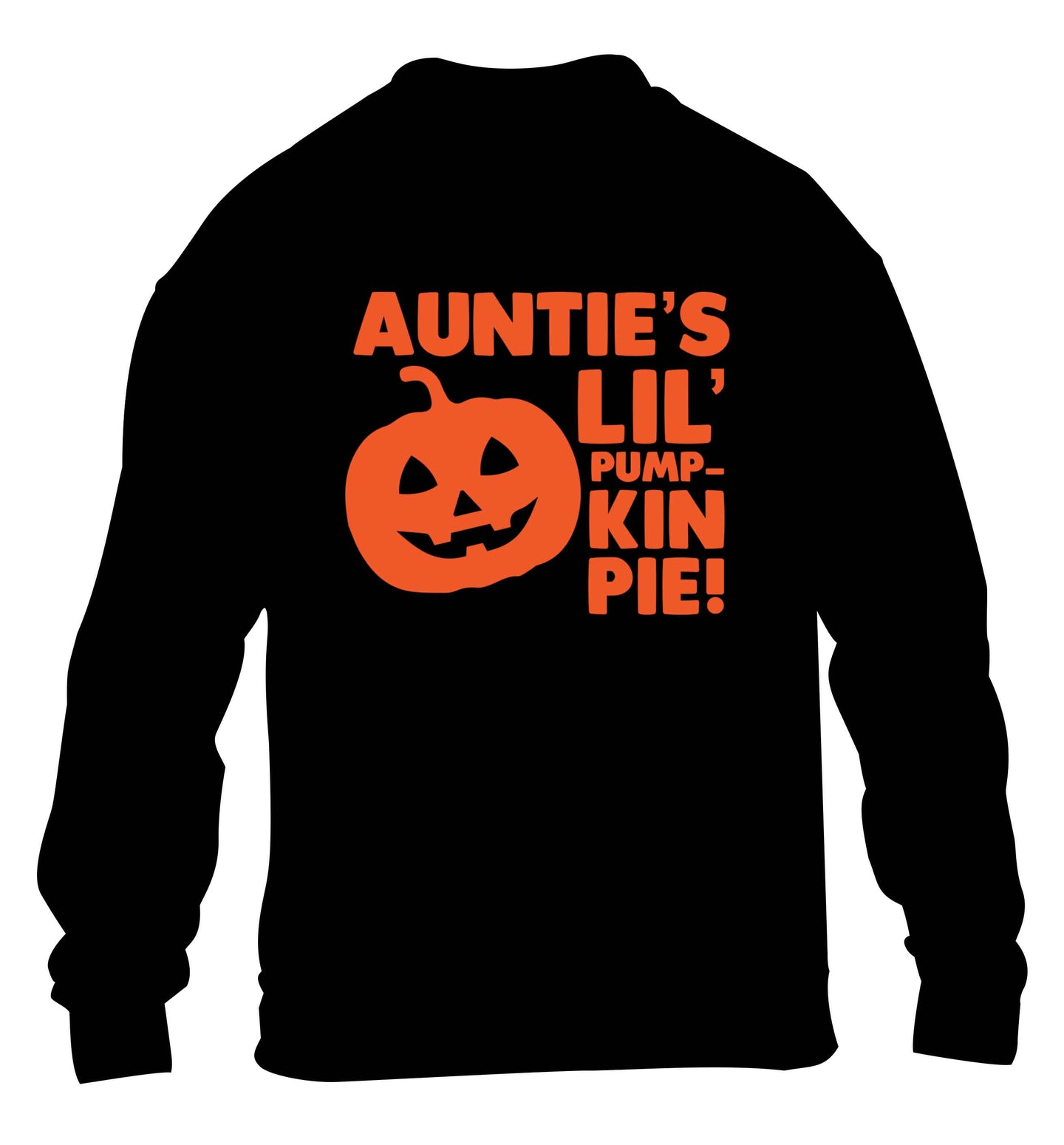 Auntie's lil' pumpkin pie children's black sweater 12-13 Years