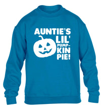 Auntie's lil' pumpkin pie children's blue sweater 12-13 Years