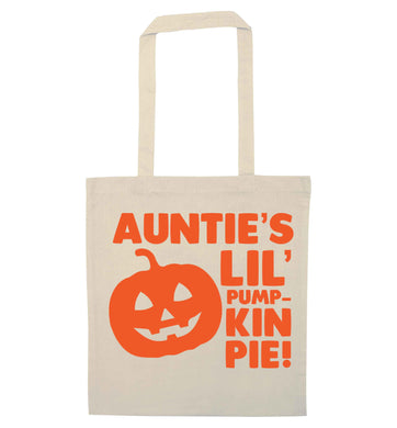 Auntie's lil' pumpkin pie natural tote bag