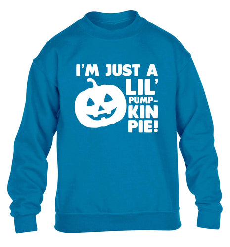 I'm just a lil' pumpkin pie children's blue sweater 12-13 Years