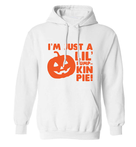 I'm just a lil' pumpkin pie adults unisex white hoodie 2XL