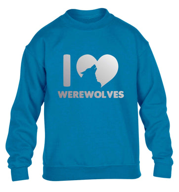 I love werewolves children's blue sweater 12-13 Years