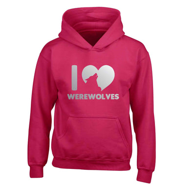 I love werewolves children's pink hoodie 12-13 Years