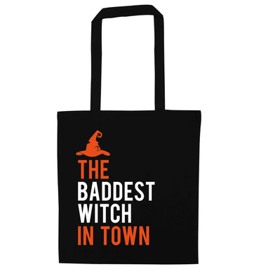 Badest witch in town black tote bag
