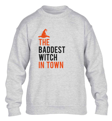 Badest witch in town children's grey sweater 12-13 Years