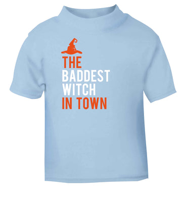 Badest witch in town light blue baby toddler Tshirt 2 Years