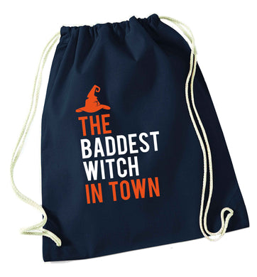 Badest witch in town navy drawstring bag