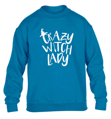 Crazy witch lady children's blue sweater 12-13 Years