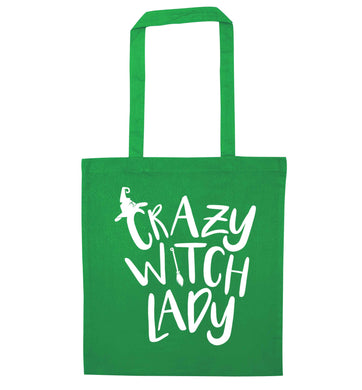 Crazy witch lady green tote bag