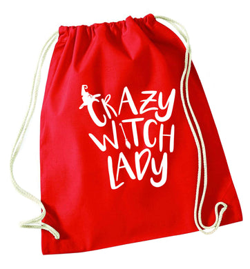 Crazy witch lady red drawstring bag