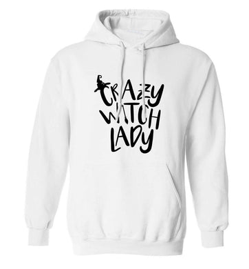 Crazy witch lady adults unisex white hoodie 2XL