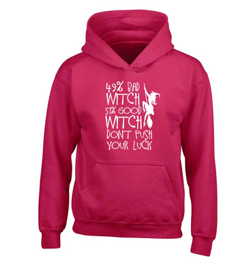 49% bad witch 51% good witch don't push your luck children's pink hoodie 12-13 Years