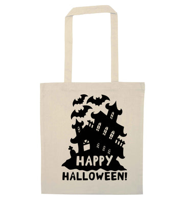 Happy halloween - haunted house natural tote bag