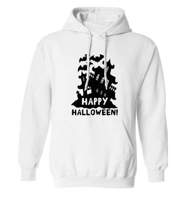 Happy halloween - haunted house adults unisex white hoodie 2XL