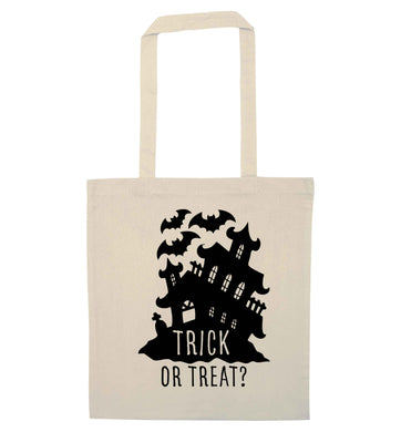 Trick or treat - haunted house natural tote bag