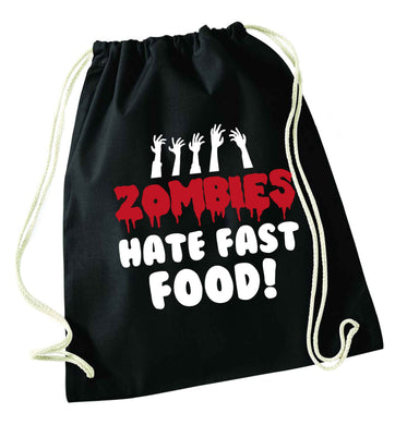 Zombies hate fast food black drawstring bag