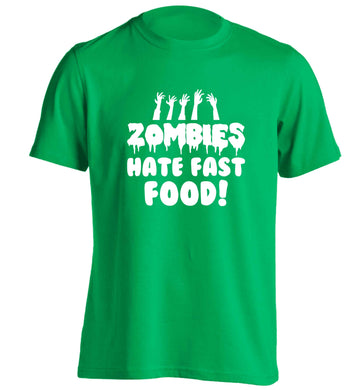 Zombies hate fast food adults unisex green Tshirt 2XL