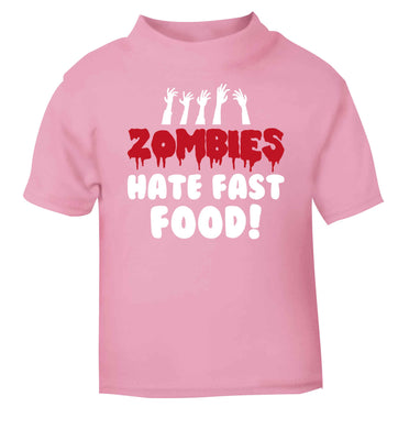 Zombies hate fast food light pink baby toddler Tshirt 2 Years