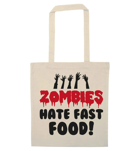 Zombies hate fast food natural tote bag