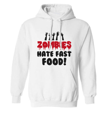 Zombies hate fast food adults unisex white hoodie 2XL