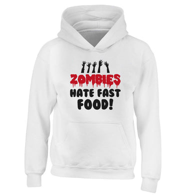 Zombies hate fast food children's white hoodie 12-13 Years