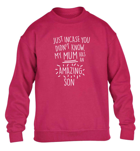 Just incase you didn't know my mum has an amazing son children's pink sweater 12-13 Years
