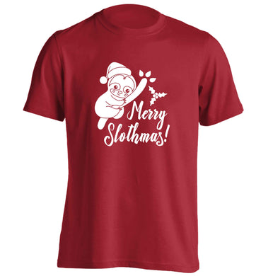 Merry Slothmas adults unisex red Tshirt 2XL