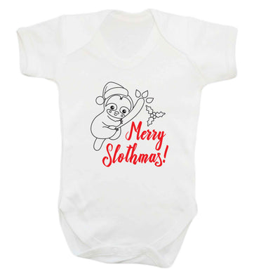 Merry Slothmas baby vest white 18-24 months