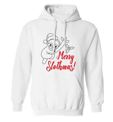 Merry Slothmas adults unisex white hoodie 2XL