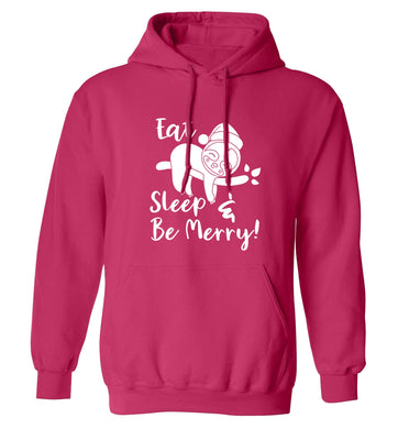 Merry Slothmas adults unisex pink hoodie 2XL
