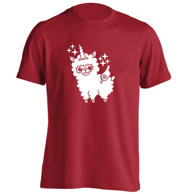 Llamacorn llama unicorn adults unisex red Tshirt 2XL