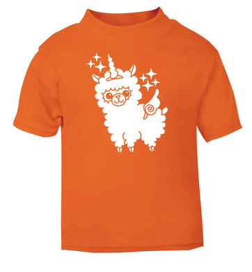 Llamacorn llama unicorn orange baby toddler Tshirt 2 Years