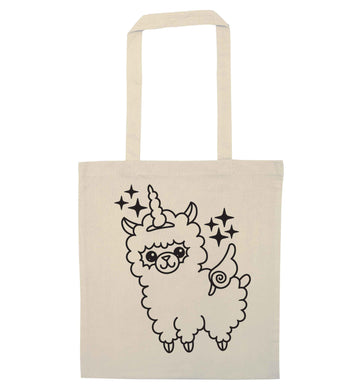Llamacorn llama unicorn natural tote bag