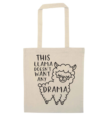 This Llama doesn't want any drama natural tote bag